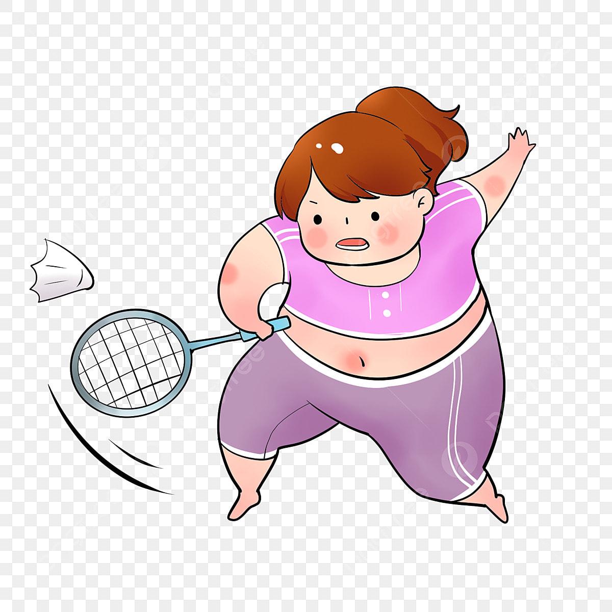 Fat Girl Playing Badminton Weight Loss Cute Cartoon Weight Loss