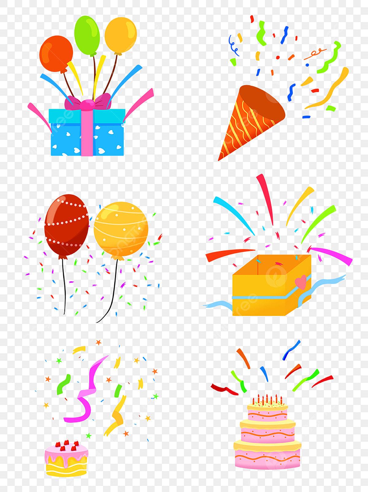 Fireworks Balloon Birthday Cake Gift Box Ribbon Combination