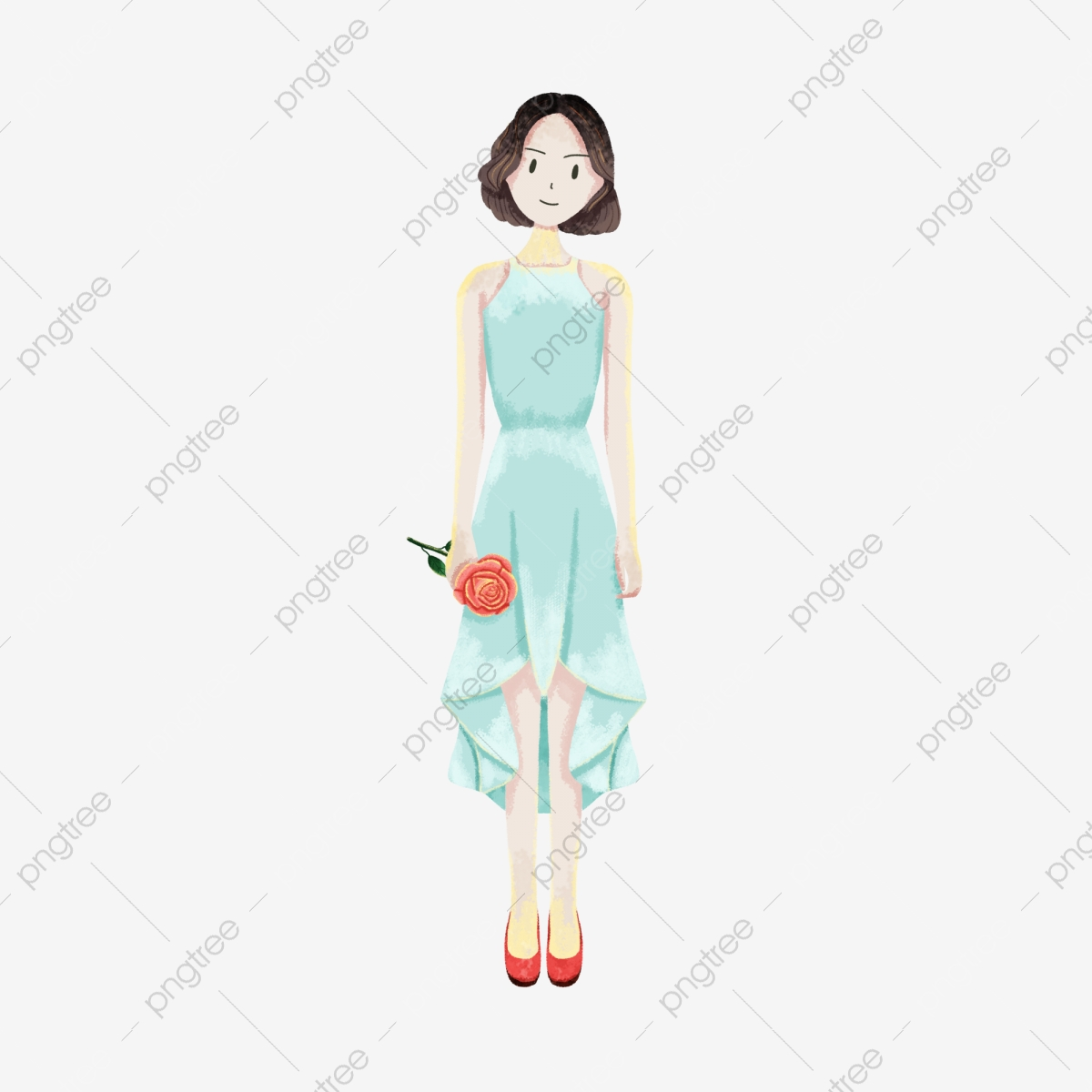 女の子イラストキャラクターロングスカート夏夏バラ