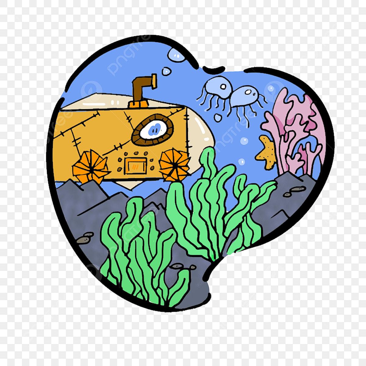 Tangan Digambar Kartun El Bawah Laut Corak Hiasan