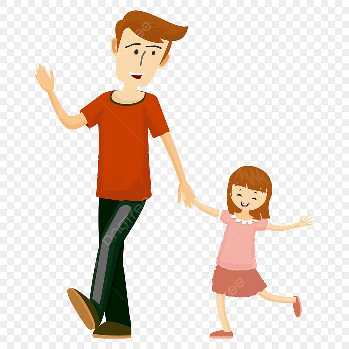 Gambar Tangan Ditarik Kartun Bapa Dan Anak Perempuan Berjalan Di Tangan Watak Kartun Lukisan Tangan Kartun Ayah Dan Anak Perempuan Berjalan Di Tangan Png Dan Psd Untuk Muat Turun Percuma
