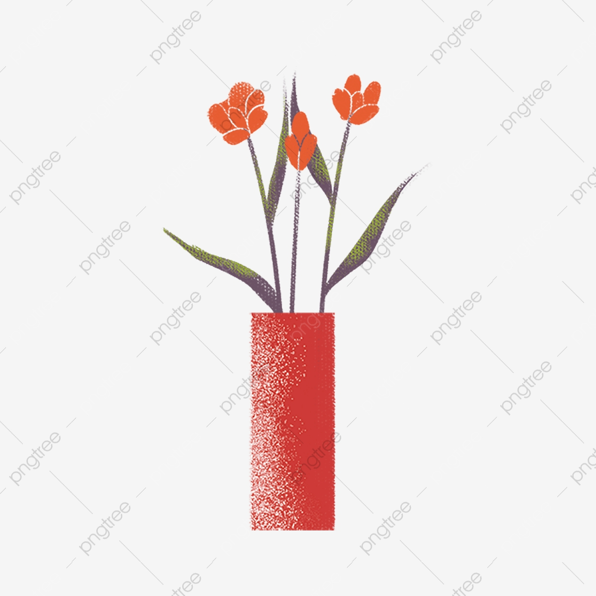 Hand Drawn Cartoon Red Flowers Potted