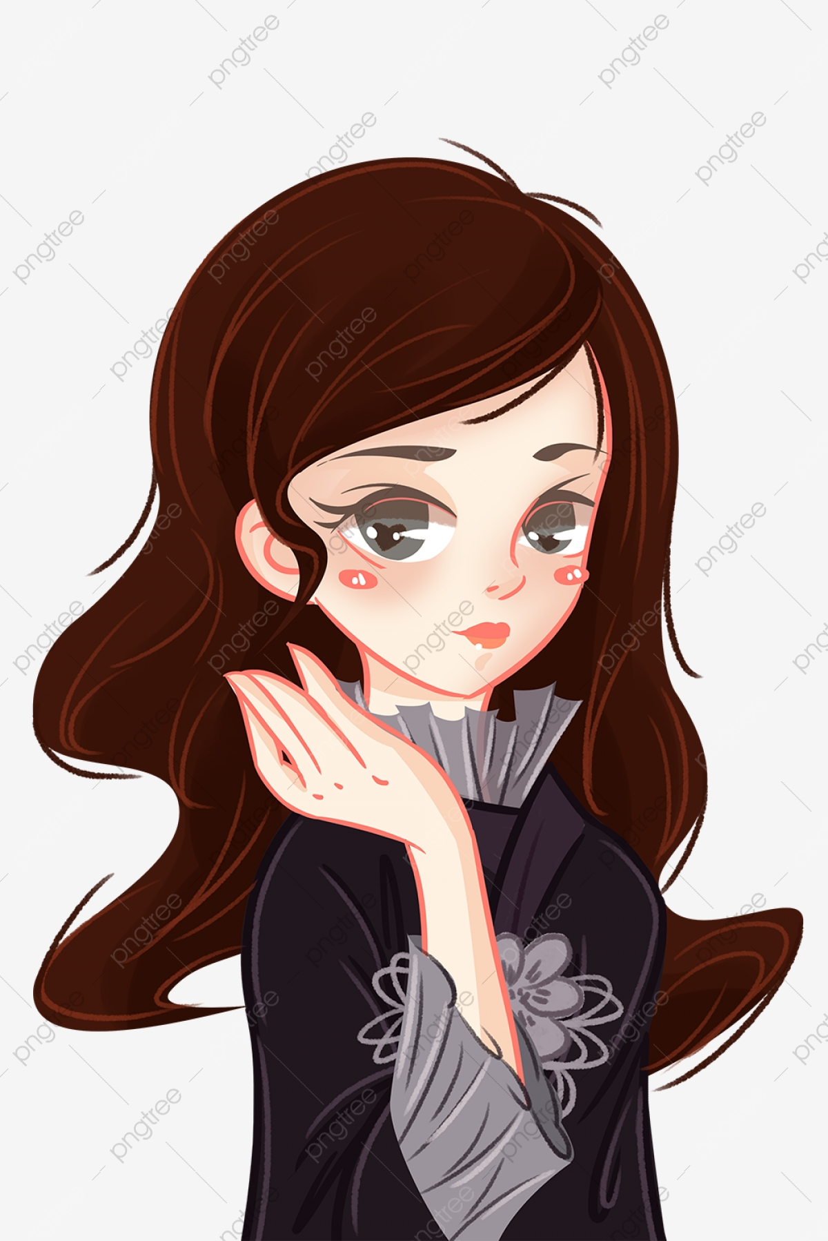 Long Haired Little Girl Hand Drawing Long Haired Beauty Hand Painted Illustration Png Transparent Clipart Image And Psd File For Free Download