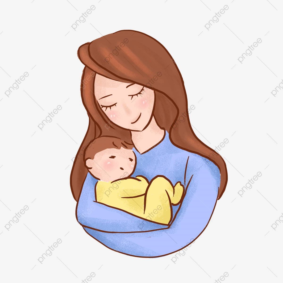 Mother Holding Baby Hand Drawn Cartoon Cute Elements Mother Baby Hug Png Transparent Clipart Image And Psd File For Free Download