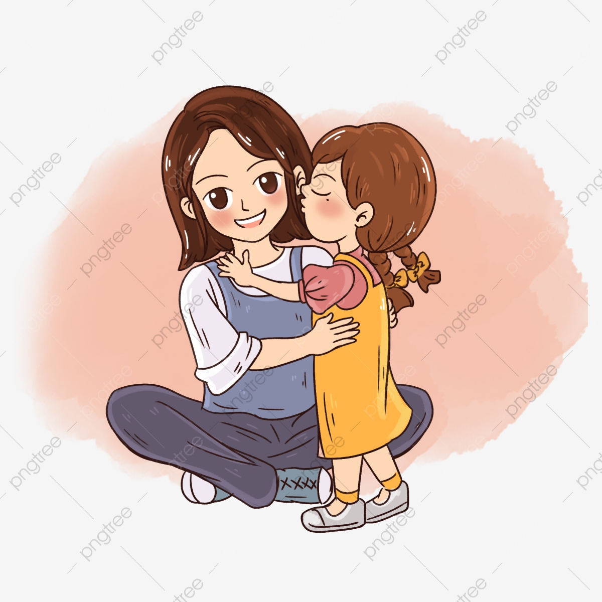 Mother S Day Kids Kissing Mother Hand Drawn Cartoon Elements Mother S Day Child Kiss Png Transparent Clipart Image And Psd File For Free Download