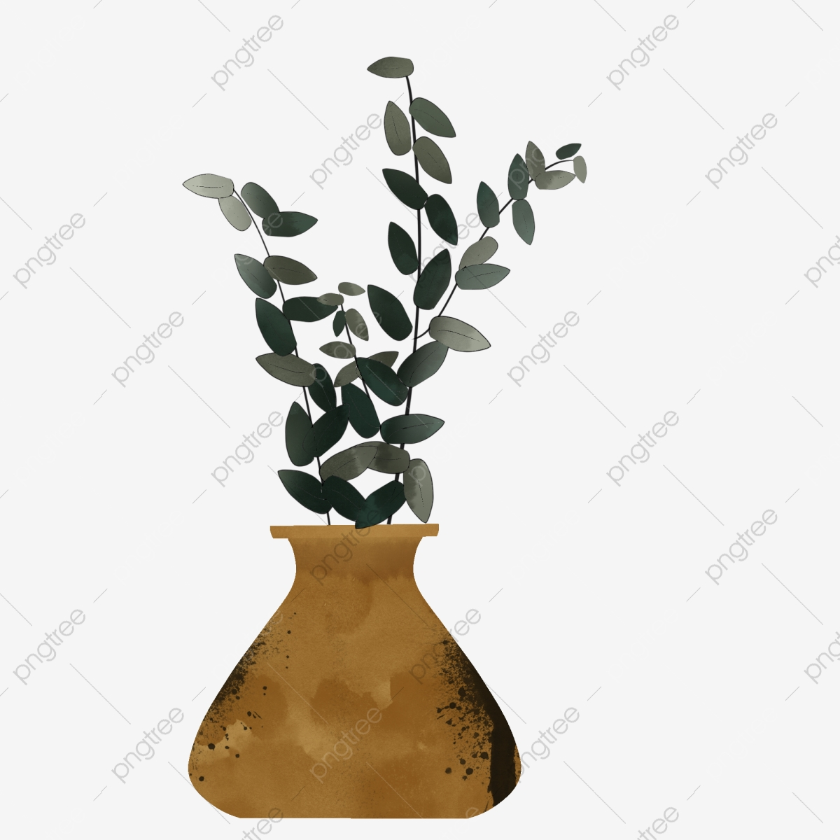 Plant Vine Flower Vase Original Hand Painted Wind Simple Small Fresh Elements Flower Pot Vase Flower Arrangement Png Transparent Clipart Image And Psd File For Free Download