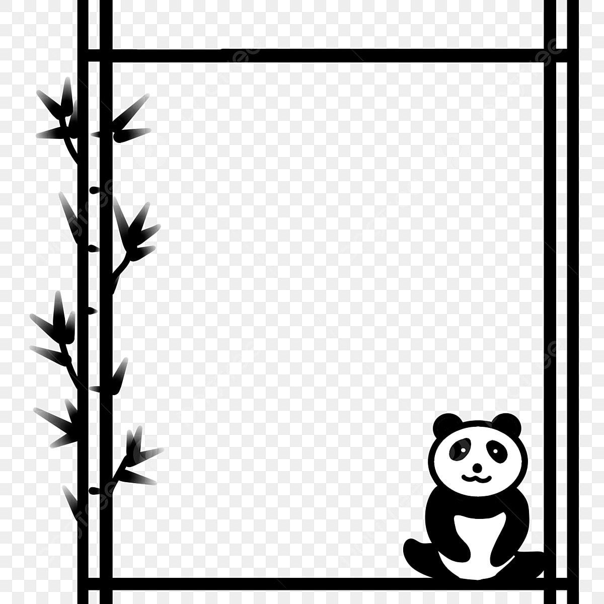 Panda Géant Noir Et Blanc Frontière Dessin Animé Bambou Et