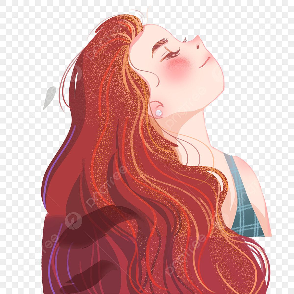 Cheveux Longs Personnage Fille Dessin Animé Rouge Fille