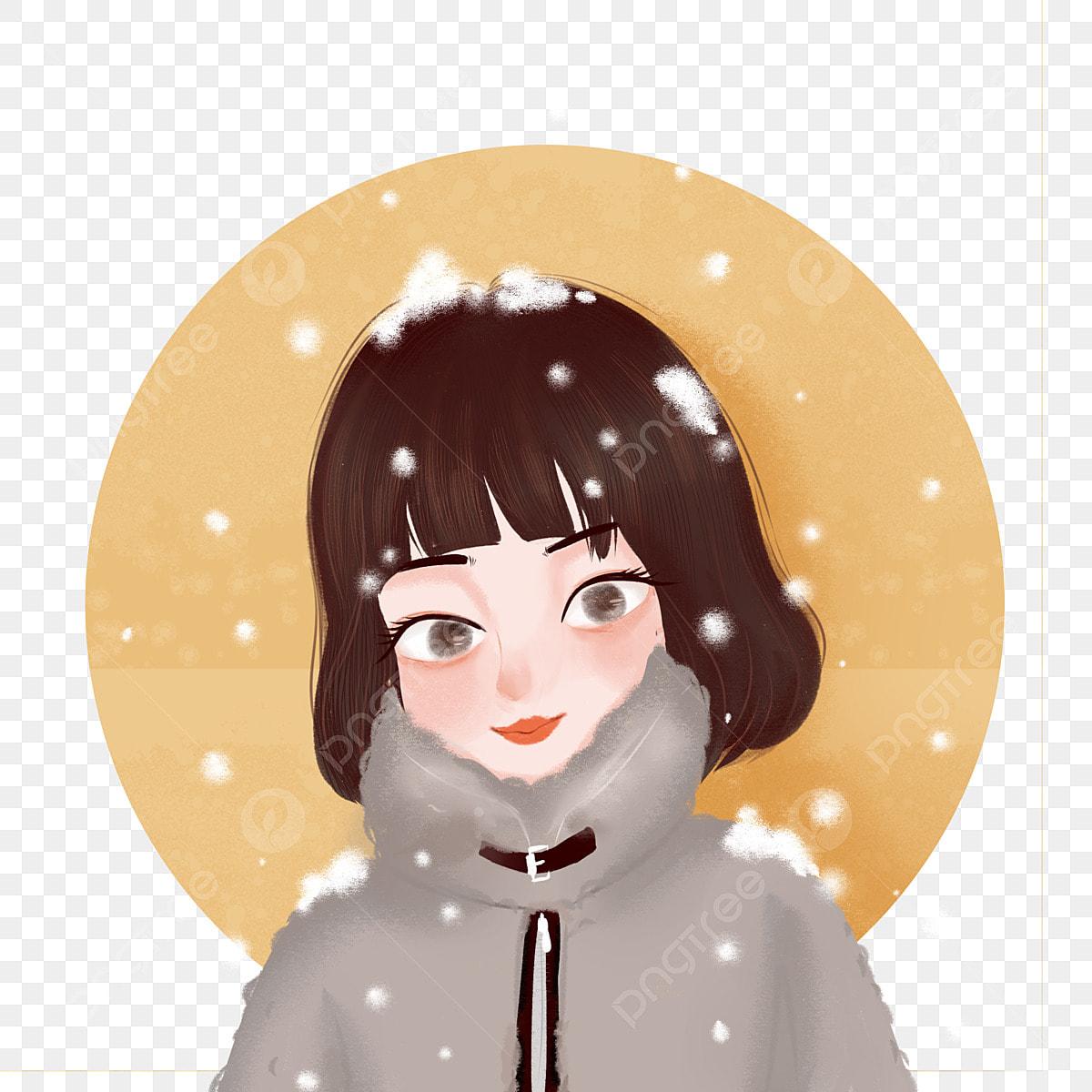 Short Hair Girl Snowing Cute Snow Girl Hand Drawn Cartoon
