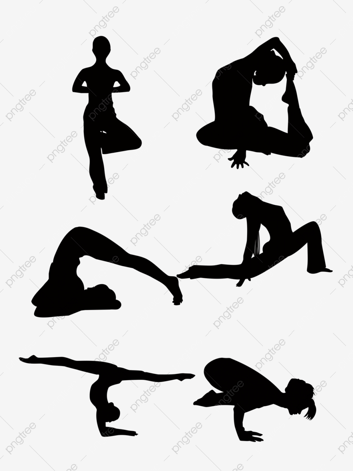 Vector Yoga Silhouette Vector Material 03 Action Fitness Exercise Png Transparent Clipart Image And Psd File For Free Download