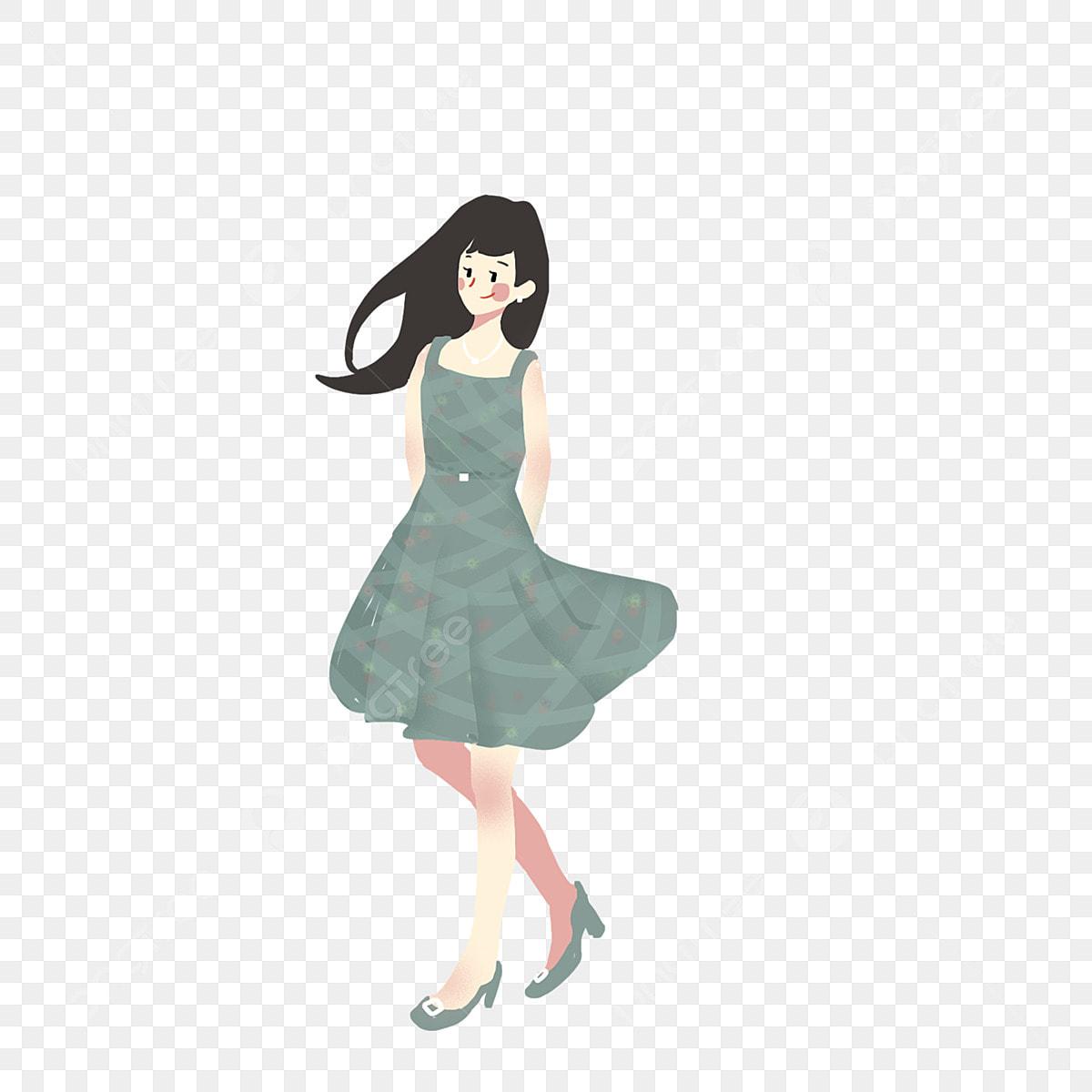 少女 夏の文字 ロングスカートの少女 漫画イラスト 漫画ロング