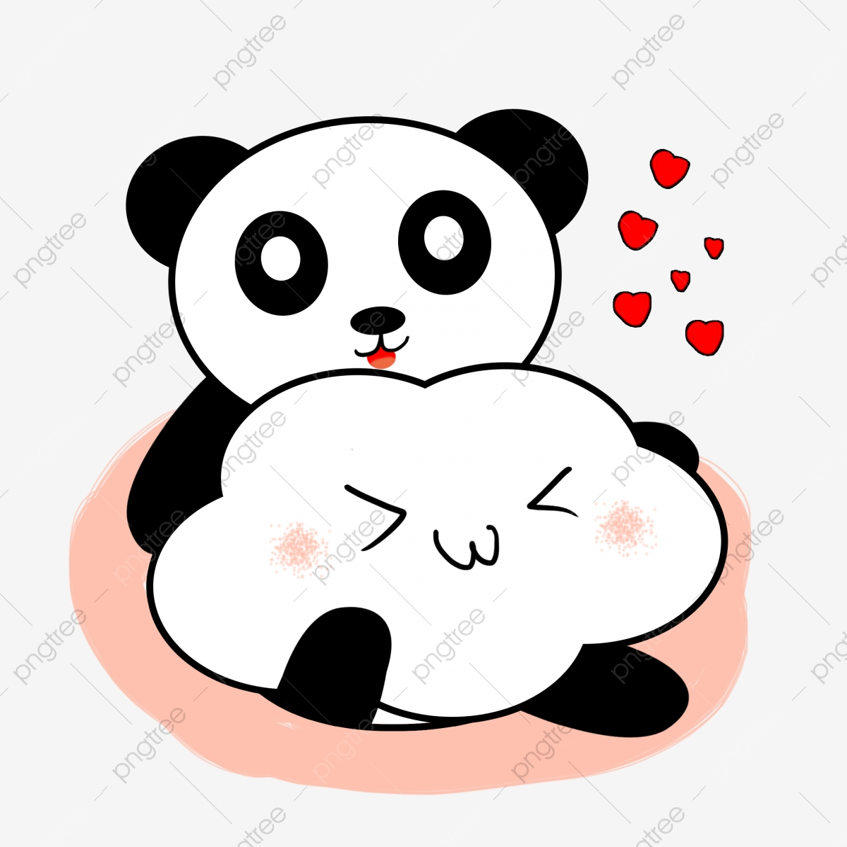 Panda Mignon Panda Mignon Dessin Animé Tenant Nuages