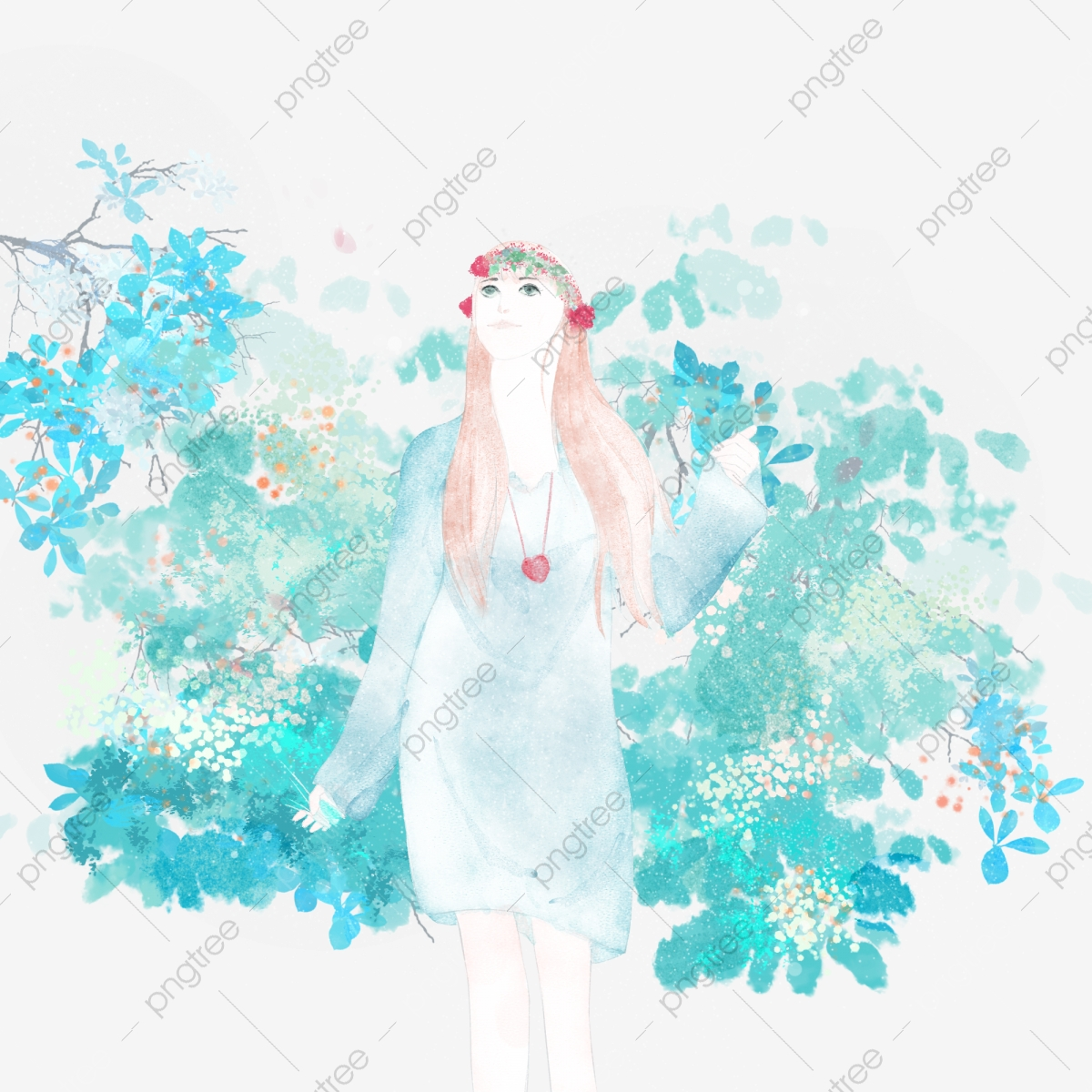 forest watercolor png images vector and psd files free download on pngtree https pngtree com freepng hand drawn watercolor girl with wreath 4458911 html