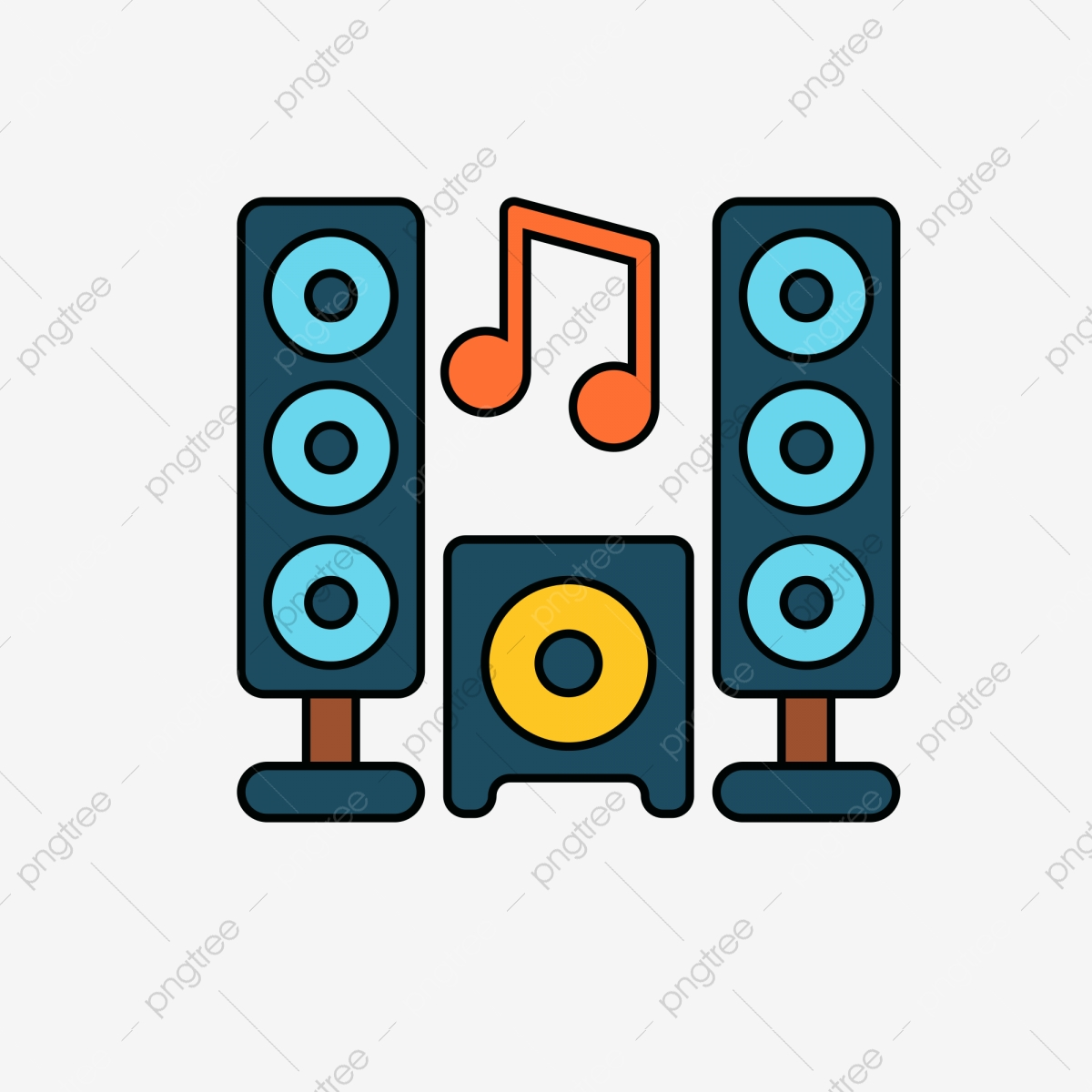 Home Theatre Music Icon Speaker Cartoon Illustration Png Transparent Clipart Image And Psd File For Free Download