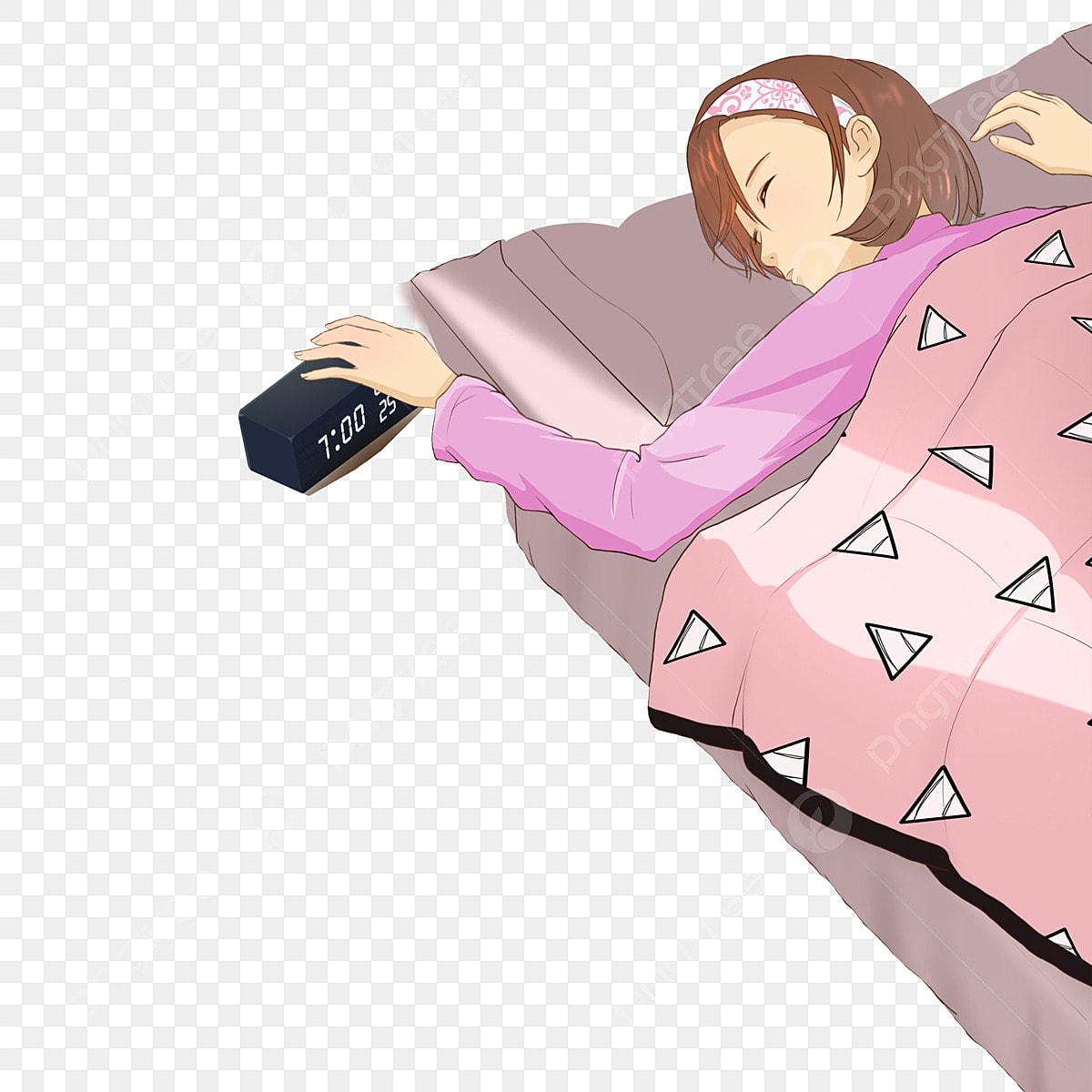 Little Girl Is Sleeping Free Black Alarm Clock Red Quilt