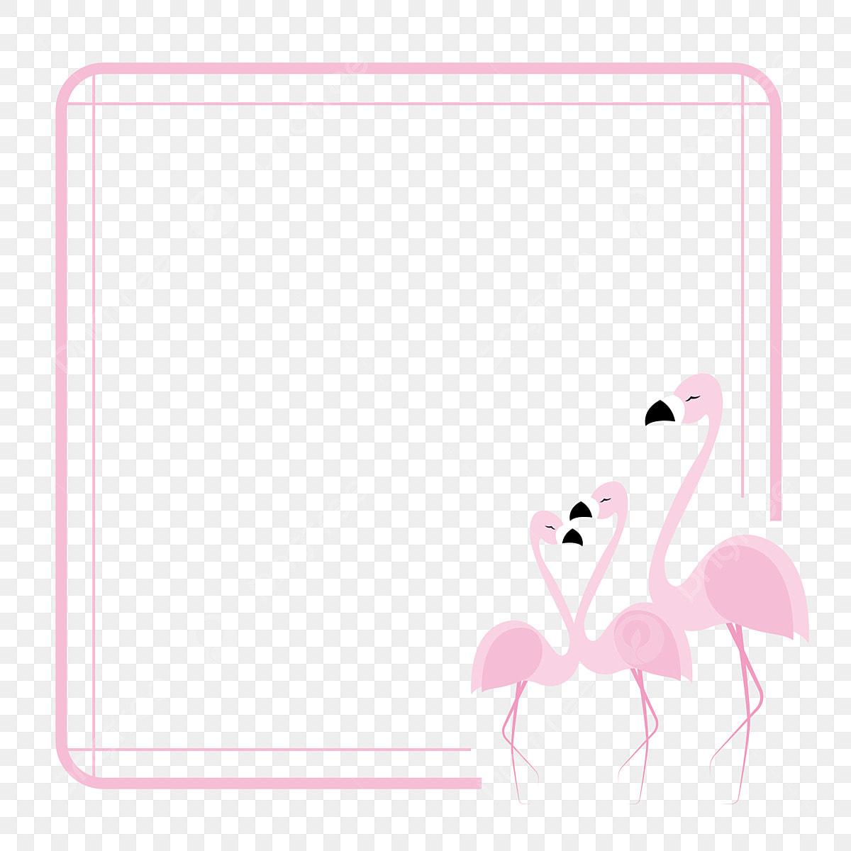 Flamant Rose Bordure De Fleurs Et Doiseaux Oiseaux Et
