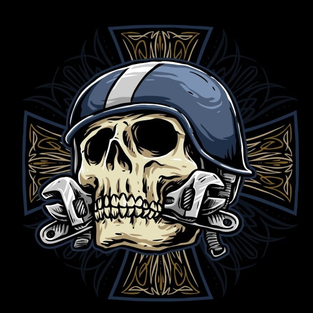 Skull With Wrench And Retro Helmet Biker With Tribal Pin