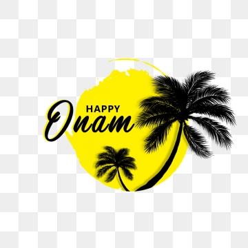 खुश ओणम पीला और काला, ओणम त्योहार, केरला त्योहार, भारत पीएनजी और पीएसडी