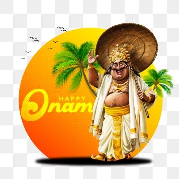 ओणम स्पेशल कार्टून डिज़ाइन महाबली, ओणम, खुश ओणम, केरल पीएनजी और पीएसडी