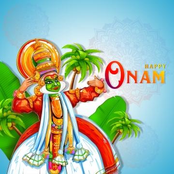 ओणम विशेष वेक्टर कला डिजाइन, ओणम त्योहार, महाबली, केरला त्योहार पीएनजी और पीएसडी