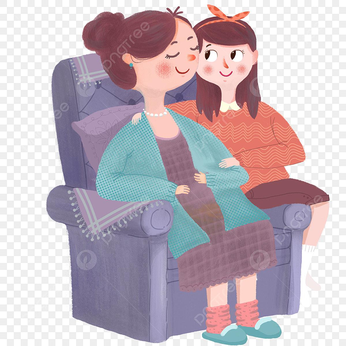 Gambar Ibu Dan Anak Perempuan Sofa Perbualan Seorang Duduk Perempuan Anak Png Dan Psd Untuk Muat Turun Percuma