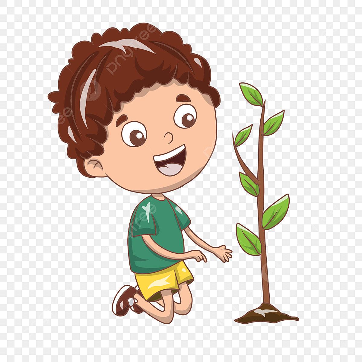 أربور الطابع التوضيح الأخضر الديكور النباتات ورقة غرس الأشجار شخصية صبي الكرتون التوضيح الأخضر شتلات النباتات شخصيات الشجرة يوم شجرة أربور الطابع التوضيح Png وملف Psd للتحميل مجانا