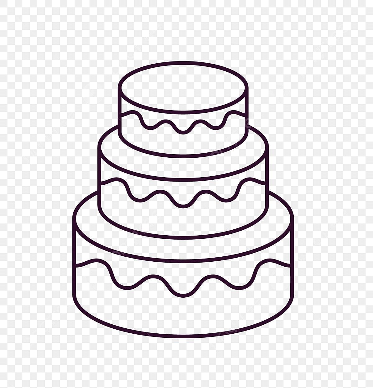 Dessin Au Trait Noir Et Blanc Gâteau à Trois Couches Gâteau