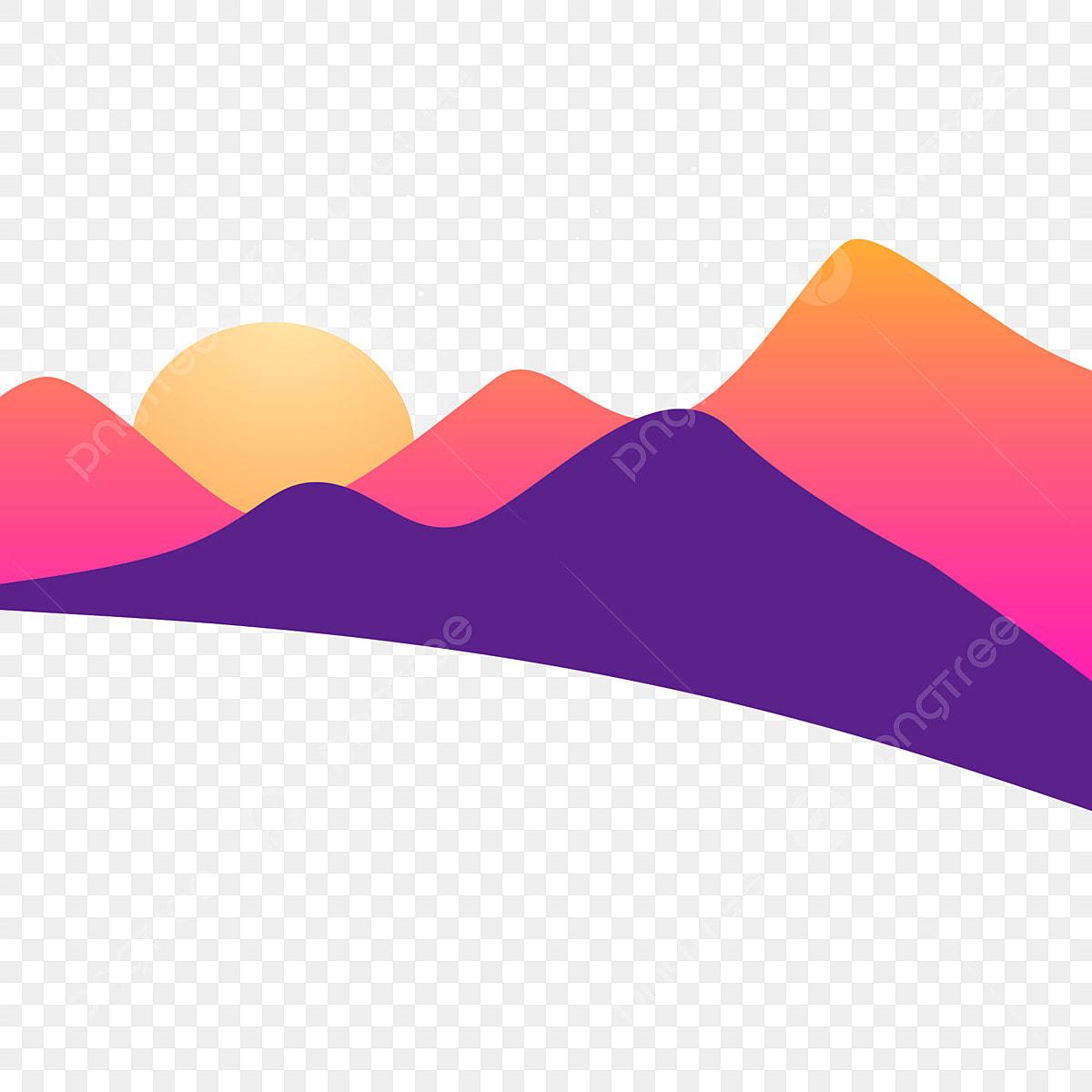 Kartun Matahari Terbenam Matahari Pagi Cahaya Matahari