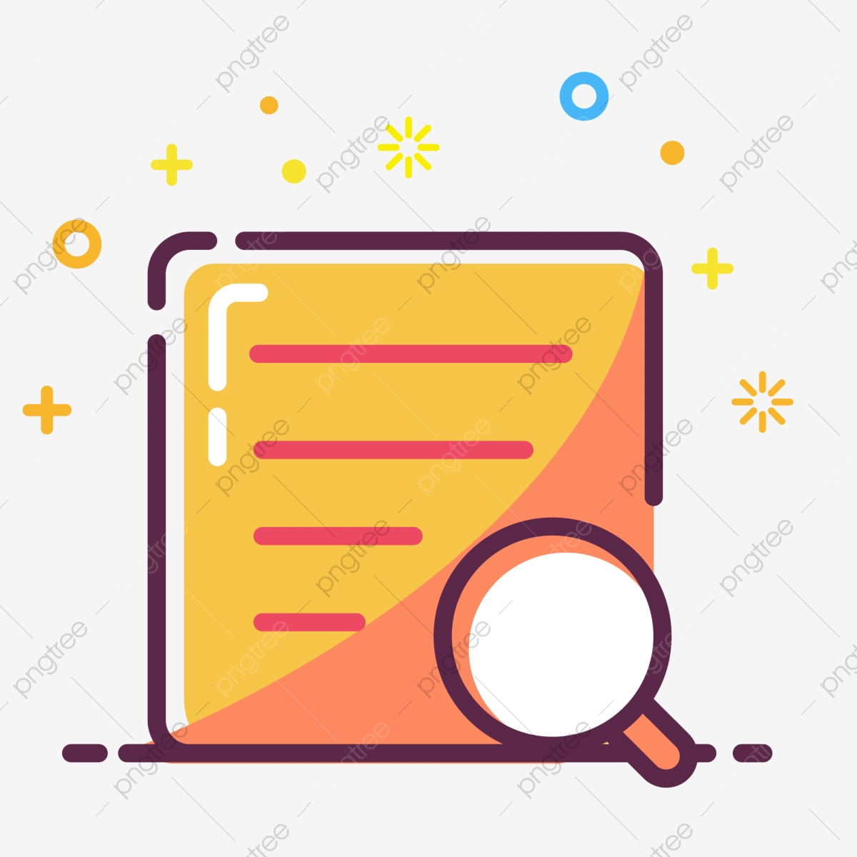 Cartoon Office File Icon Paper Magnifying Glass Golden Icon Png