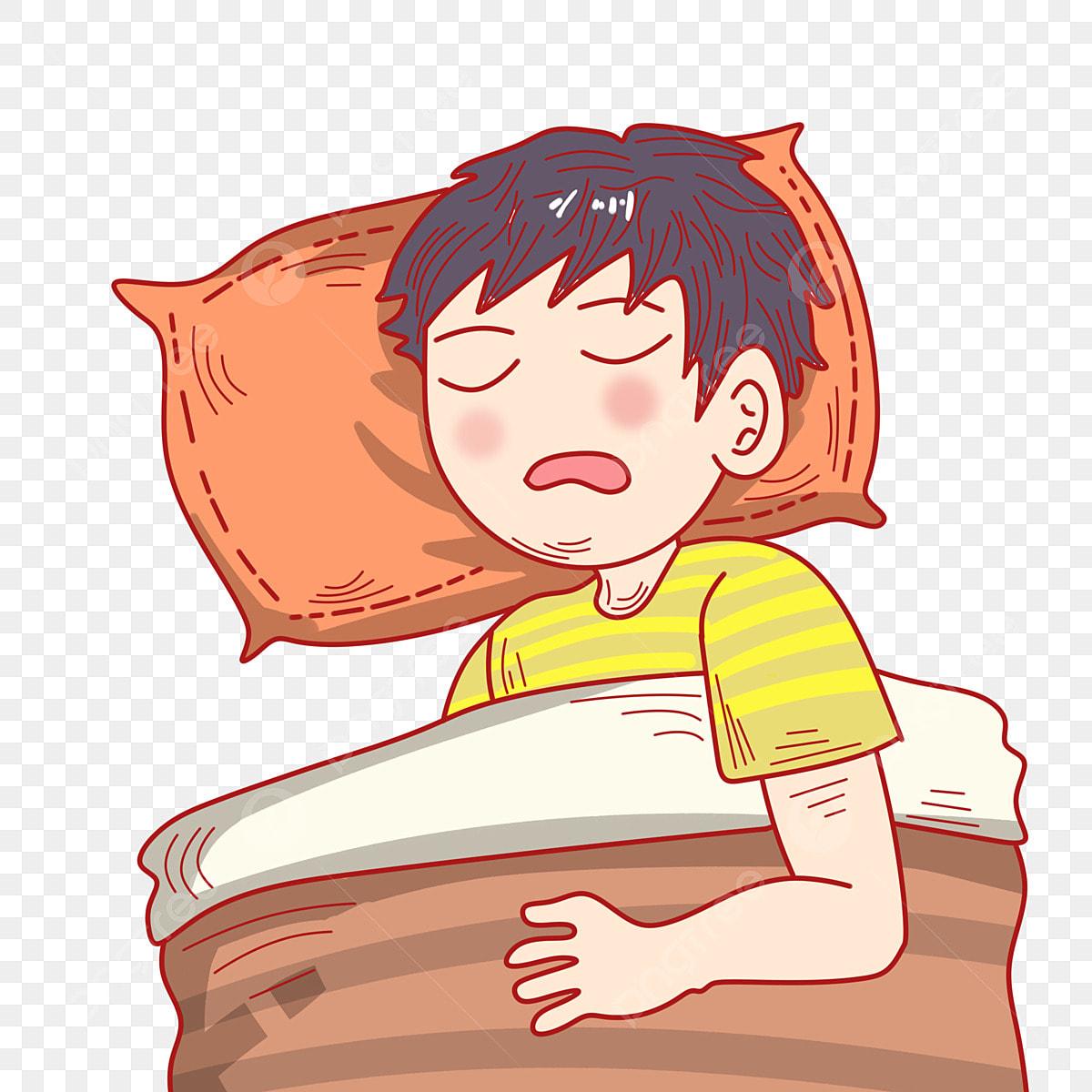Anak Lelaki Tidur Ilustrasi Watak Kartun Tidur Tidur Kartun