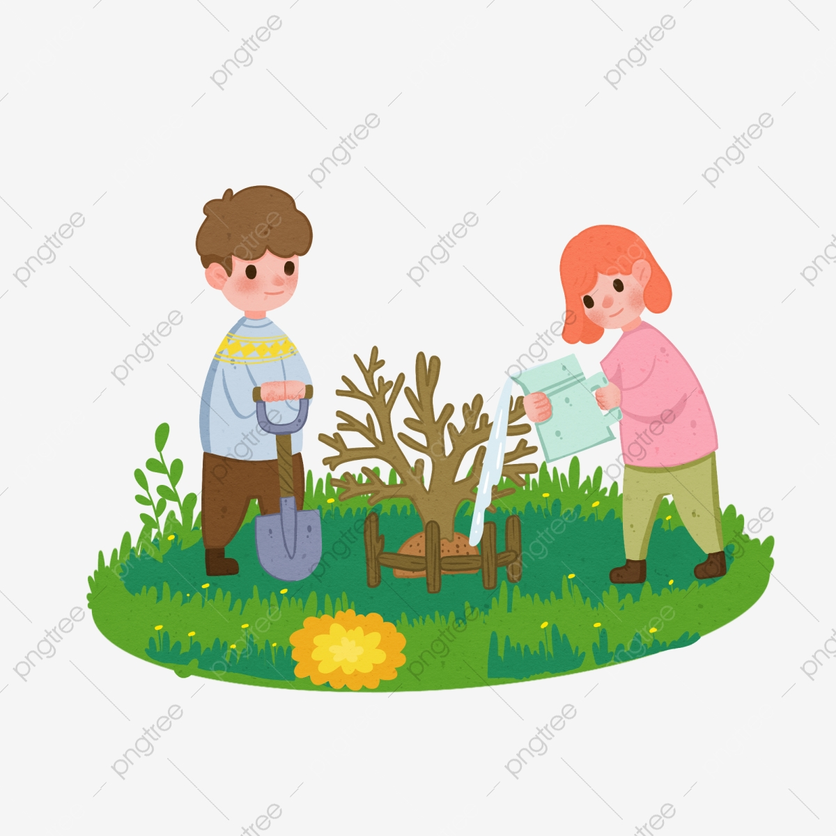 Arbor شخصية اليوم تصوير إبنة شجرة الزراعة العشب الأخضر رسم كاريكتوري شجرة الطفل سقي وسام النبات طفل يزرع شجرة في الشجرة شجرة Png وملف Psd للتحميل مجانا