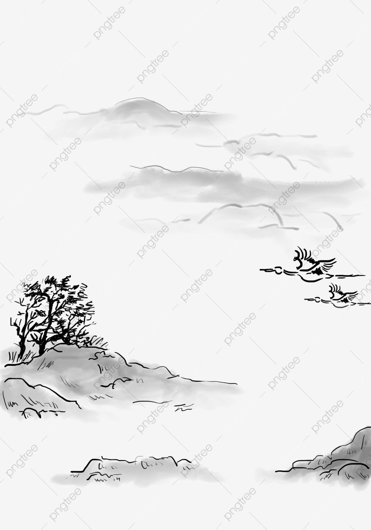 Chinese Style Black And White Landscape Ink Illustration Png Chinese Style Ink Style Ink Landscape Png Transparent Clipart Image And Psd File For Free Download