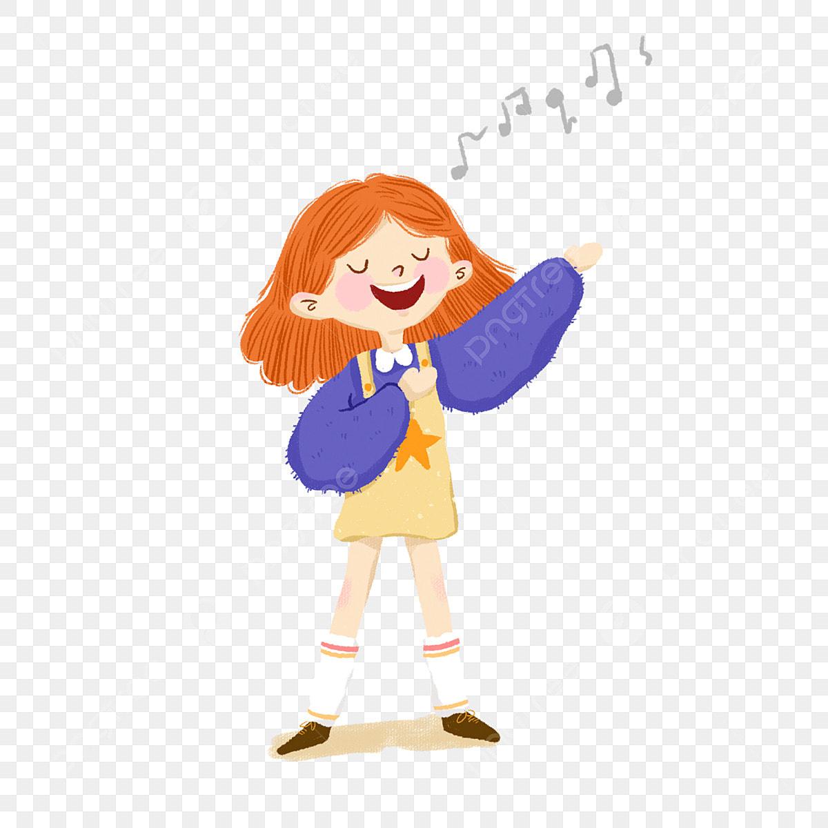 Couleur Chanter Fille Coiffure Illustration De Dessin Animé