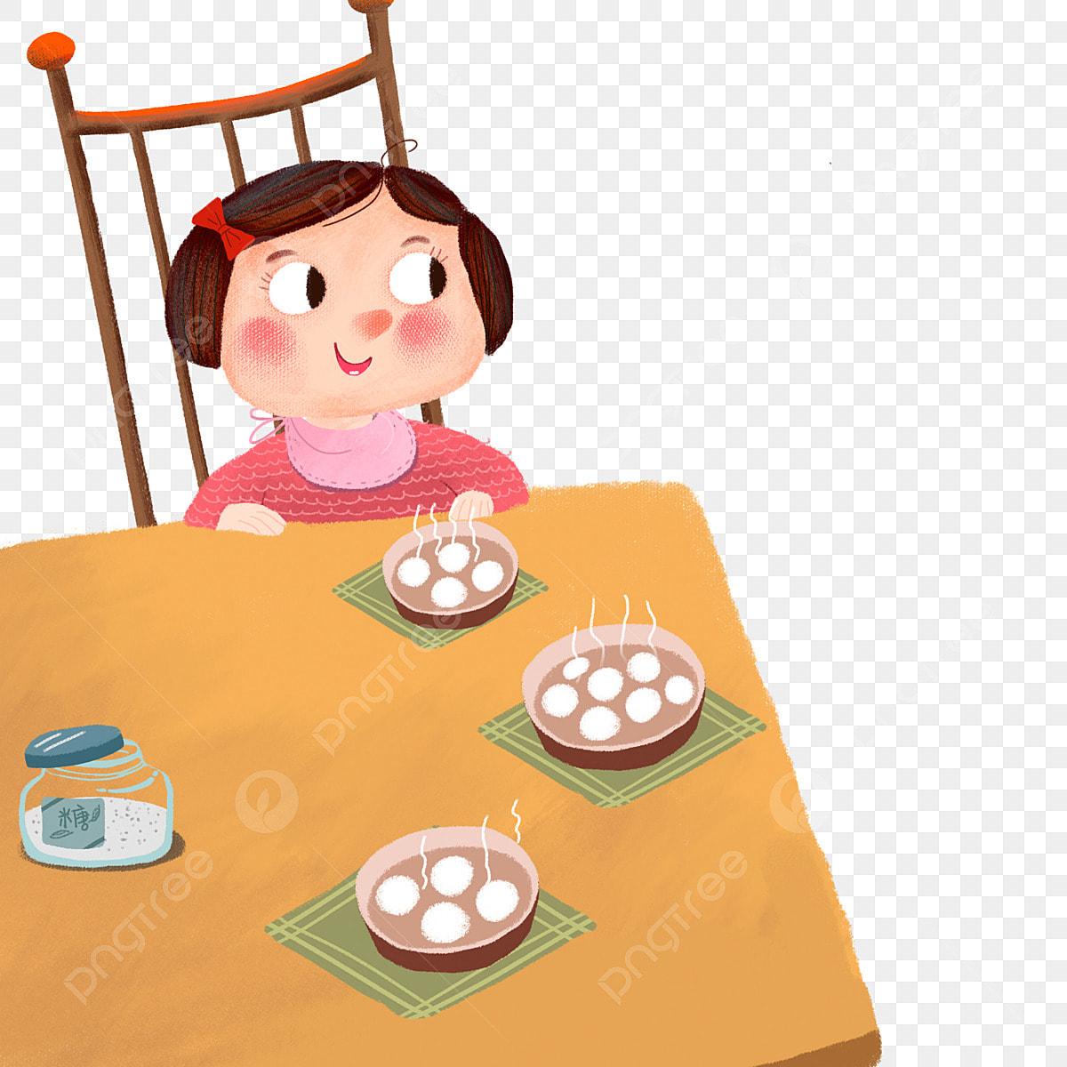 Gambar Warna Kreatif Makan Bola Nasi Meja Yang Gadis Makanan Png Dan Psd Untuk Muat Turun Percuma