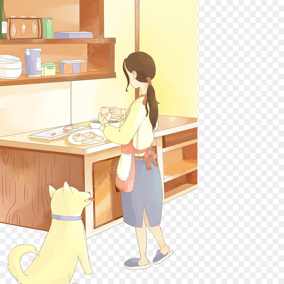 Gambar Gadis Sibuk Di Dapur Dan Bersama Anjing Memasak Di Dapur Kanak Kanak Perempuan Sibuk Di Dapur Dan Bersama Sama Dengan Anjing Png Dan Psd Untuk Muat Turun Percuma