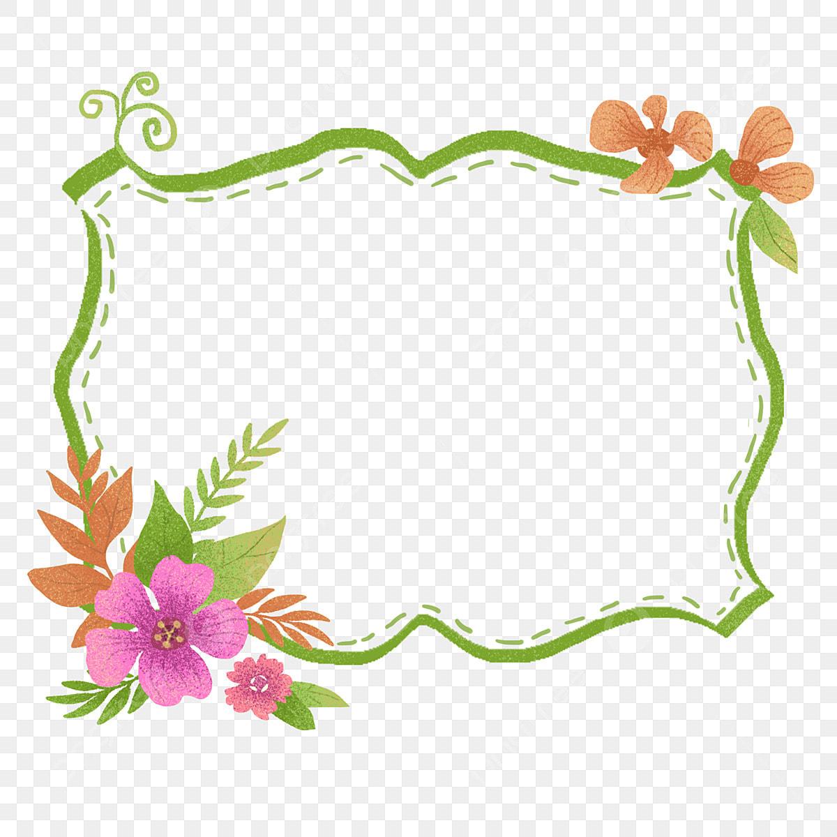 Green Flowers Border Hand Drawn