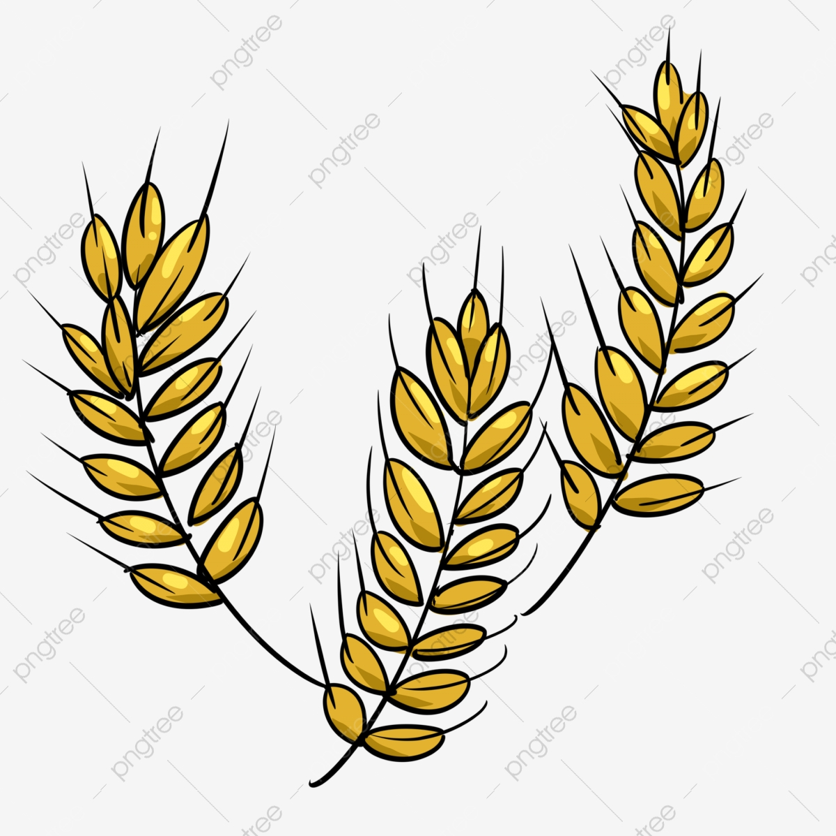 آذان القمح مرسومة باليد آذان القمح الصفراء آذان القمح الكرتون زخرفة آذان القمح آذان القمح ثلاثية الأبعاد آذان القمح الصفراء كاريكتوري Png وملف Psd للتحميل مجانا