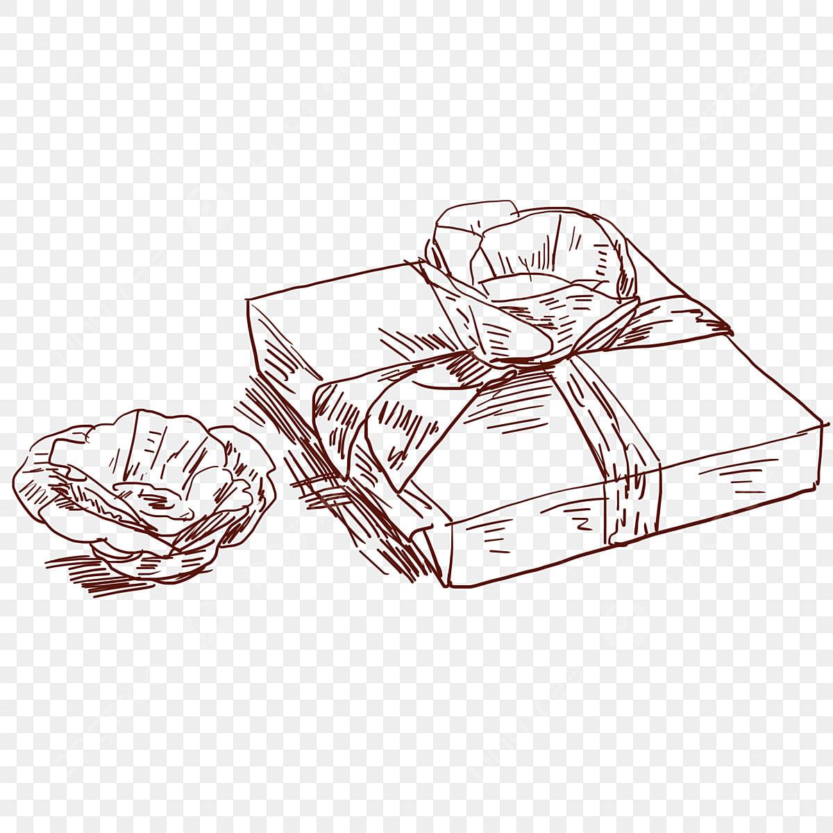 Garis Lukisan Beg Kotak Pembungkusan Ilustrasi Garis Lukisan