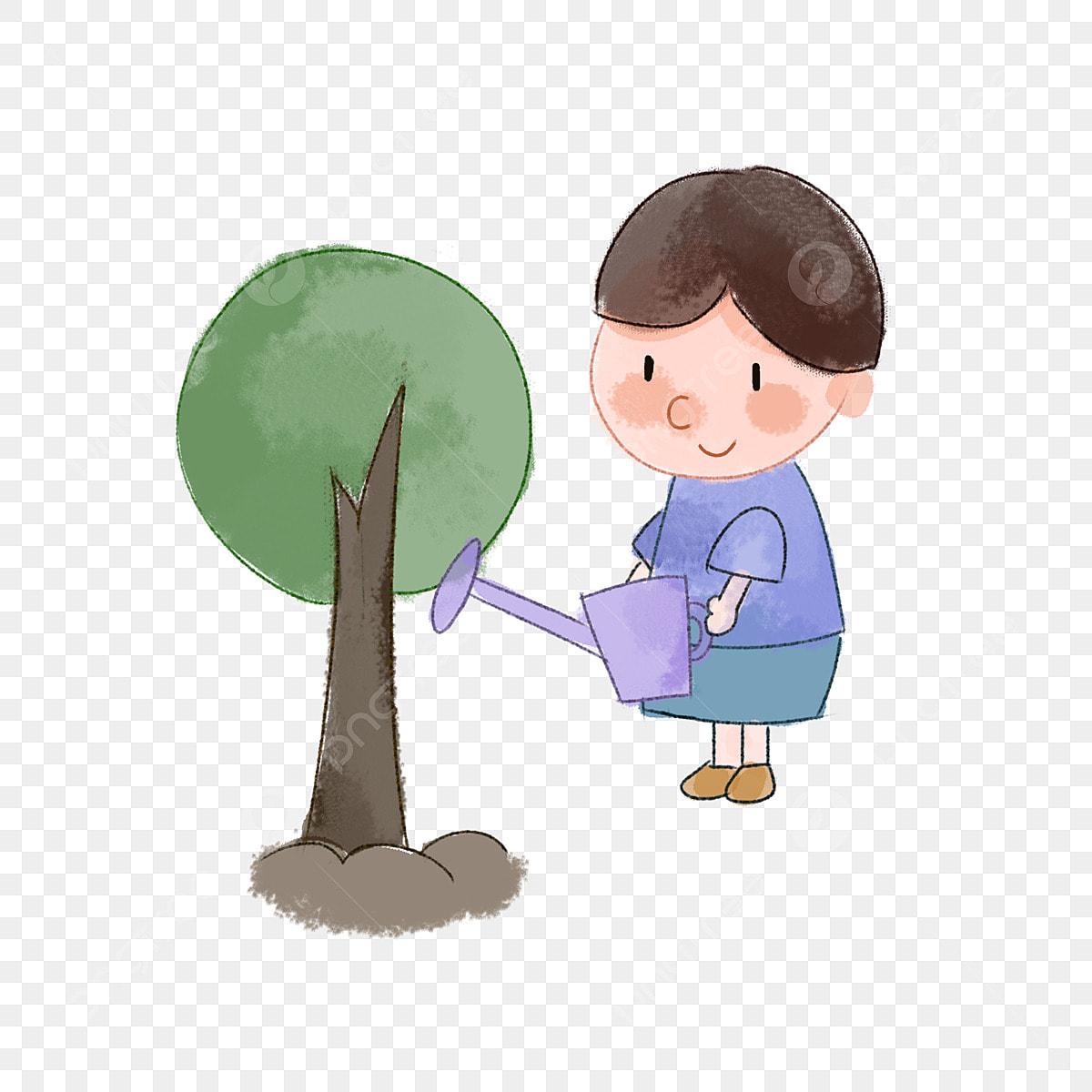 صورة شخصية يوم الشجرة الصبي الصغير يزرع الأشجار الدش الأزرق شخصيات الرسوم المتحركة يوم في الأشجار الخضراء Png وملف Psd للتحميل مجانا