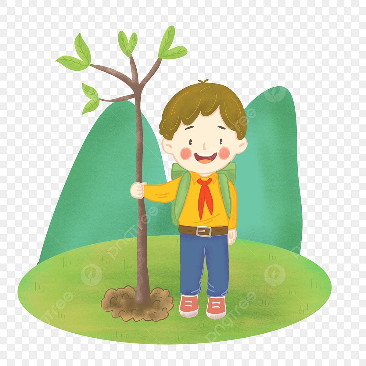 رسم توضيحي لـ Arbor Day طفل صغير يزرع في صغير يزرع Png وملف Psd للتحميل مجانا