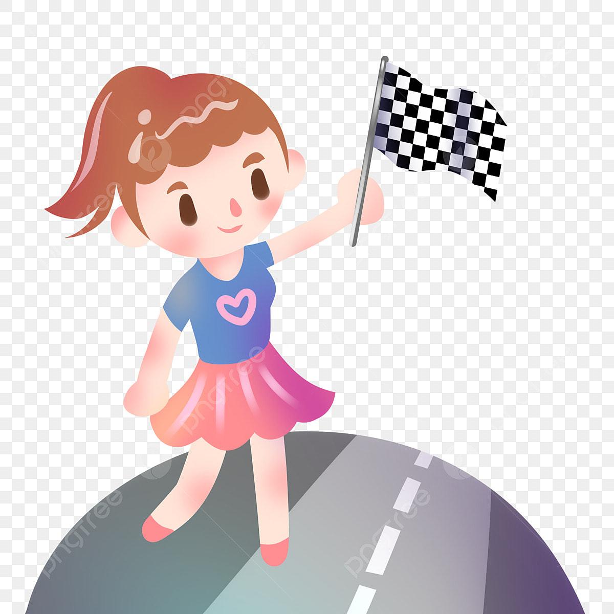 Petite Fille Tenant Bannière Rose Love Bannière Noir Et