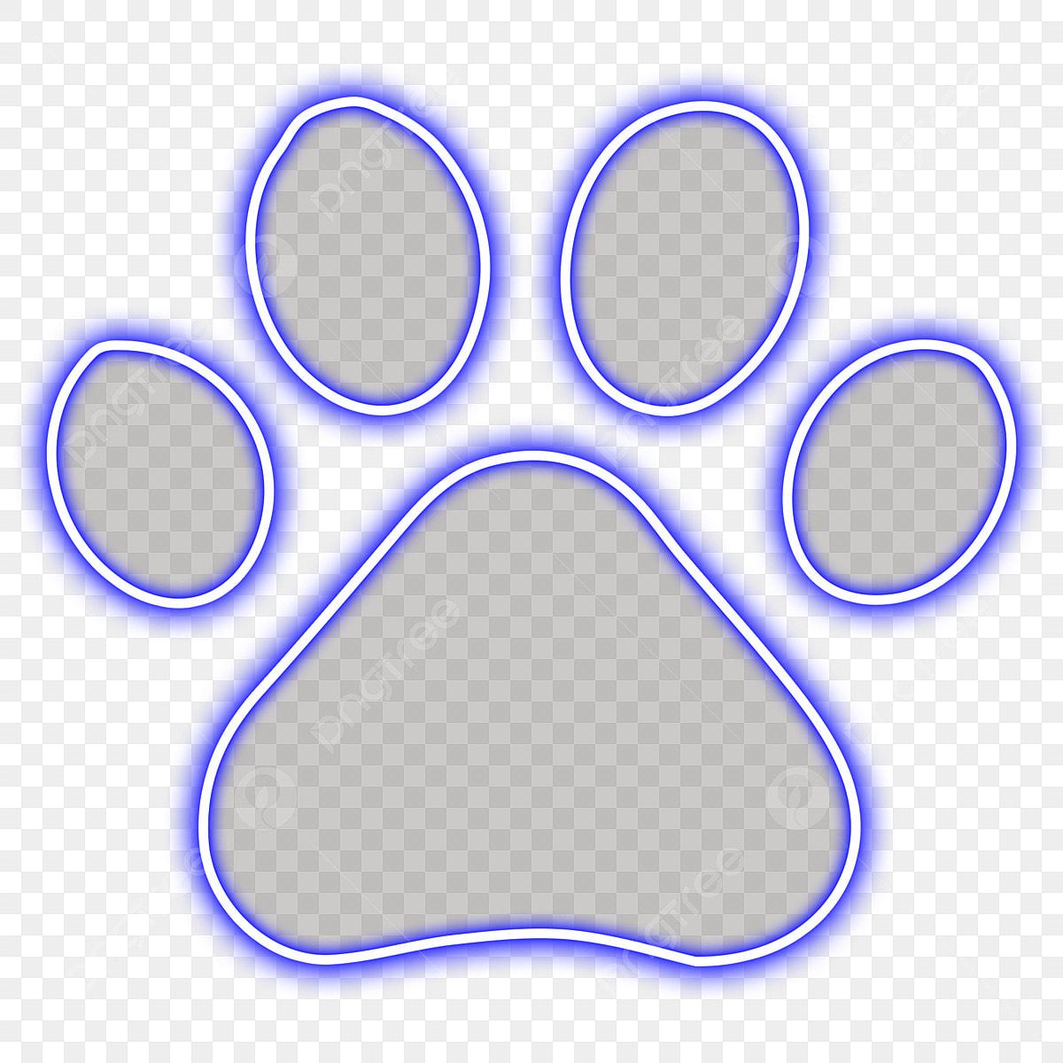 Azul Neón Animal Gato Huella Gato Gato Archivo Png Y Psd