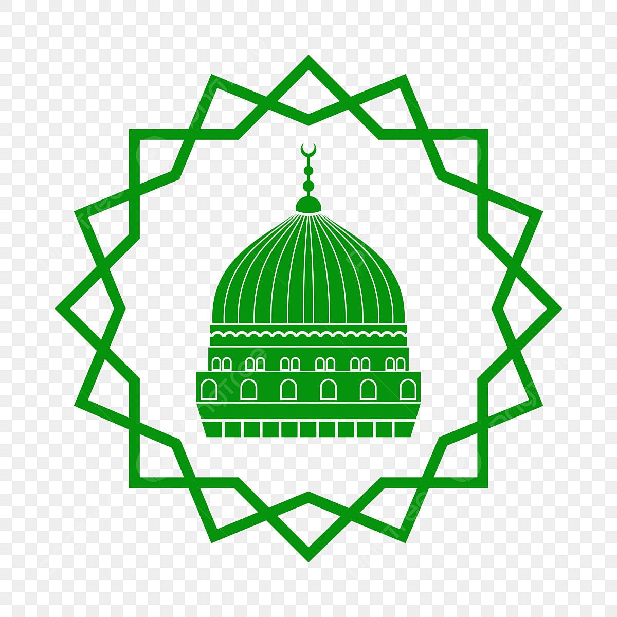 Gambar Corak Geometri Dengan Kubah Masjid Pengguna Madinah Warna Hijau Simbol Indah Festival Png Dan Vektor Untuk Muat Turun Percuma