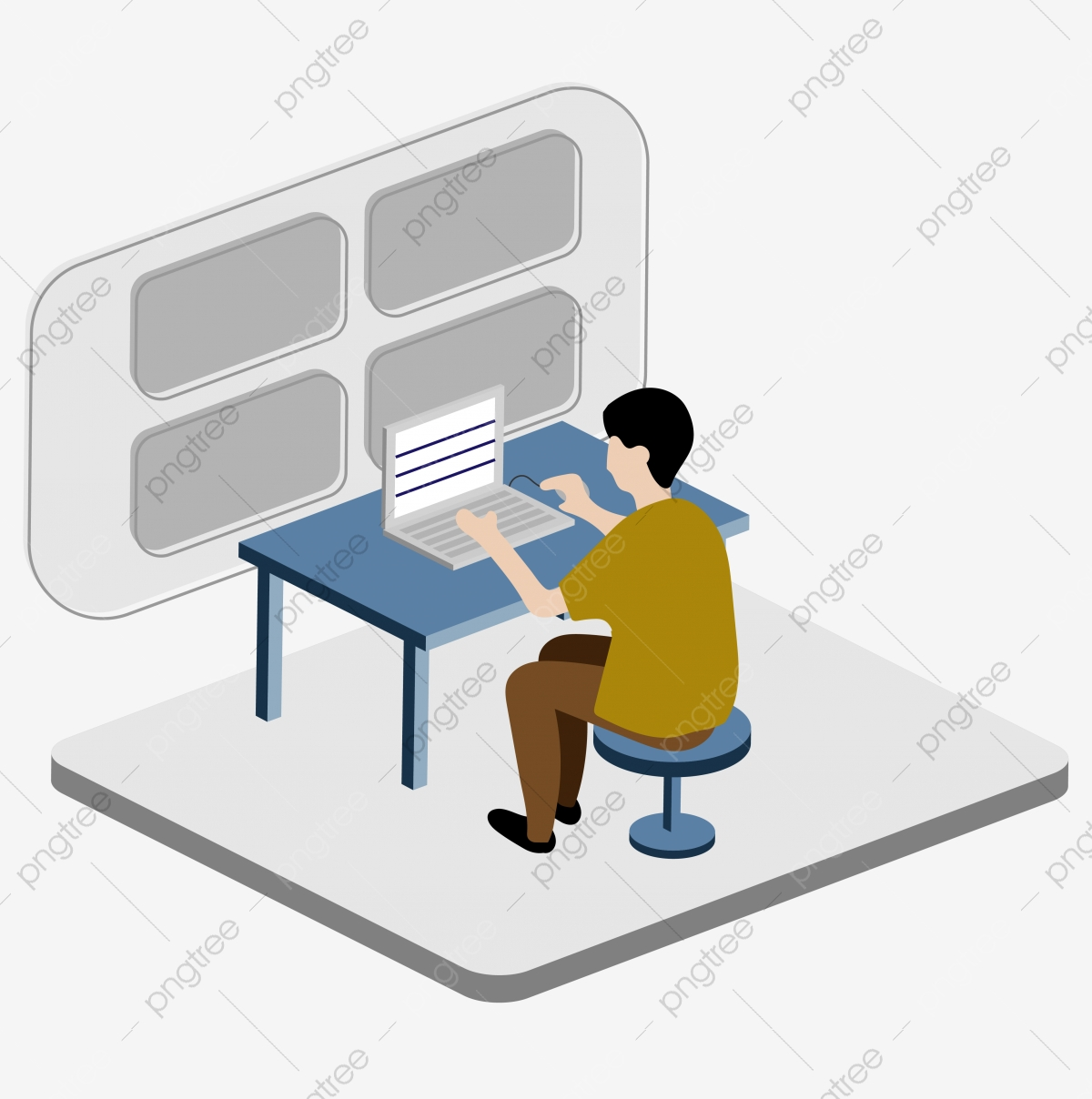 Person Working With A Computer Computer Screen Work Png And Vector With Transparent Background For Free Download