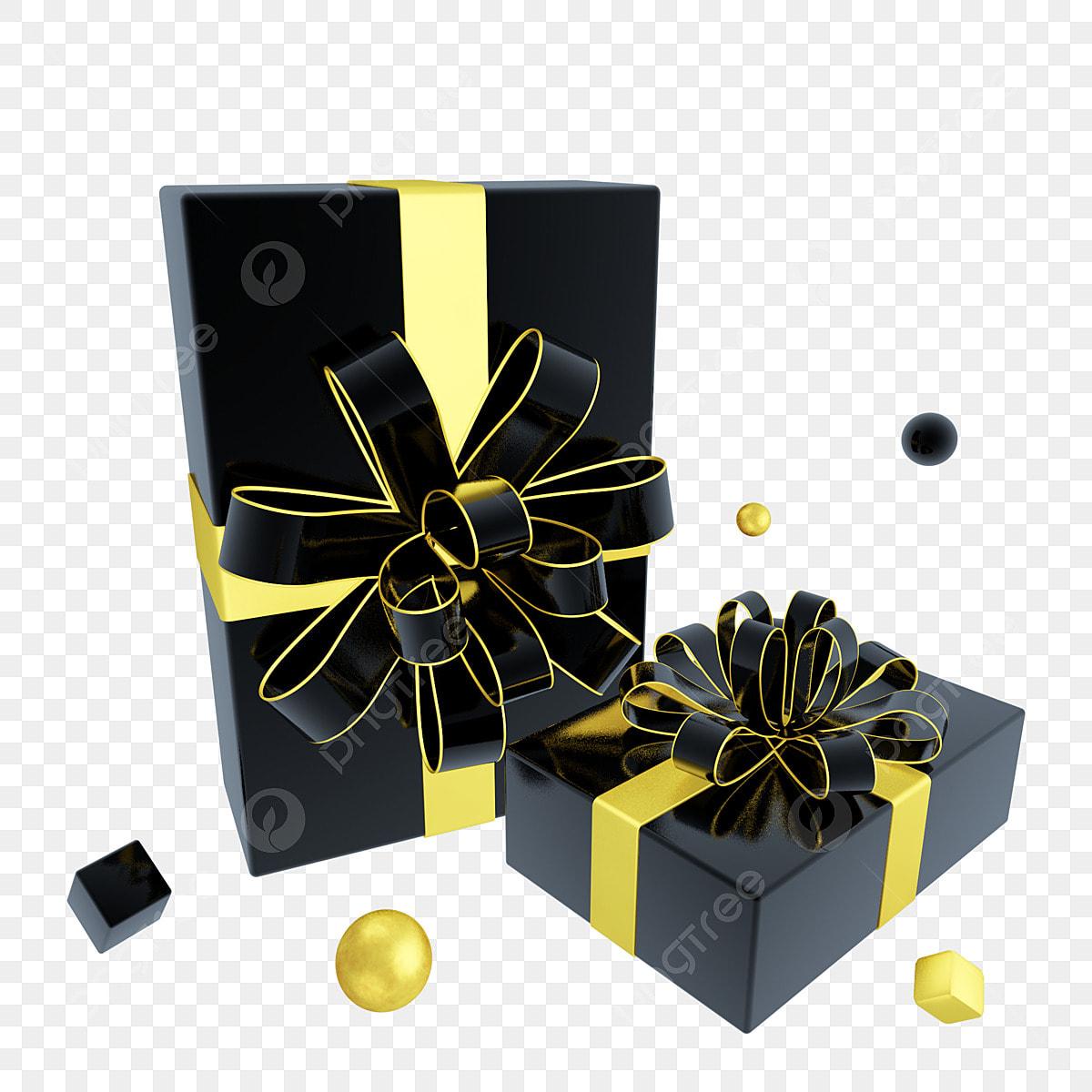 مستطيلة C4d ريح ذهبية سوداء صندوق هدايا مزخرف علبة هدايا ترويجية للعطلات كرة سوداء C4d Png وملف Psd للتحميل مجانا