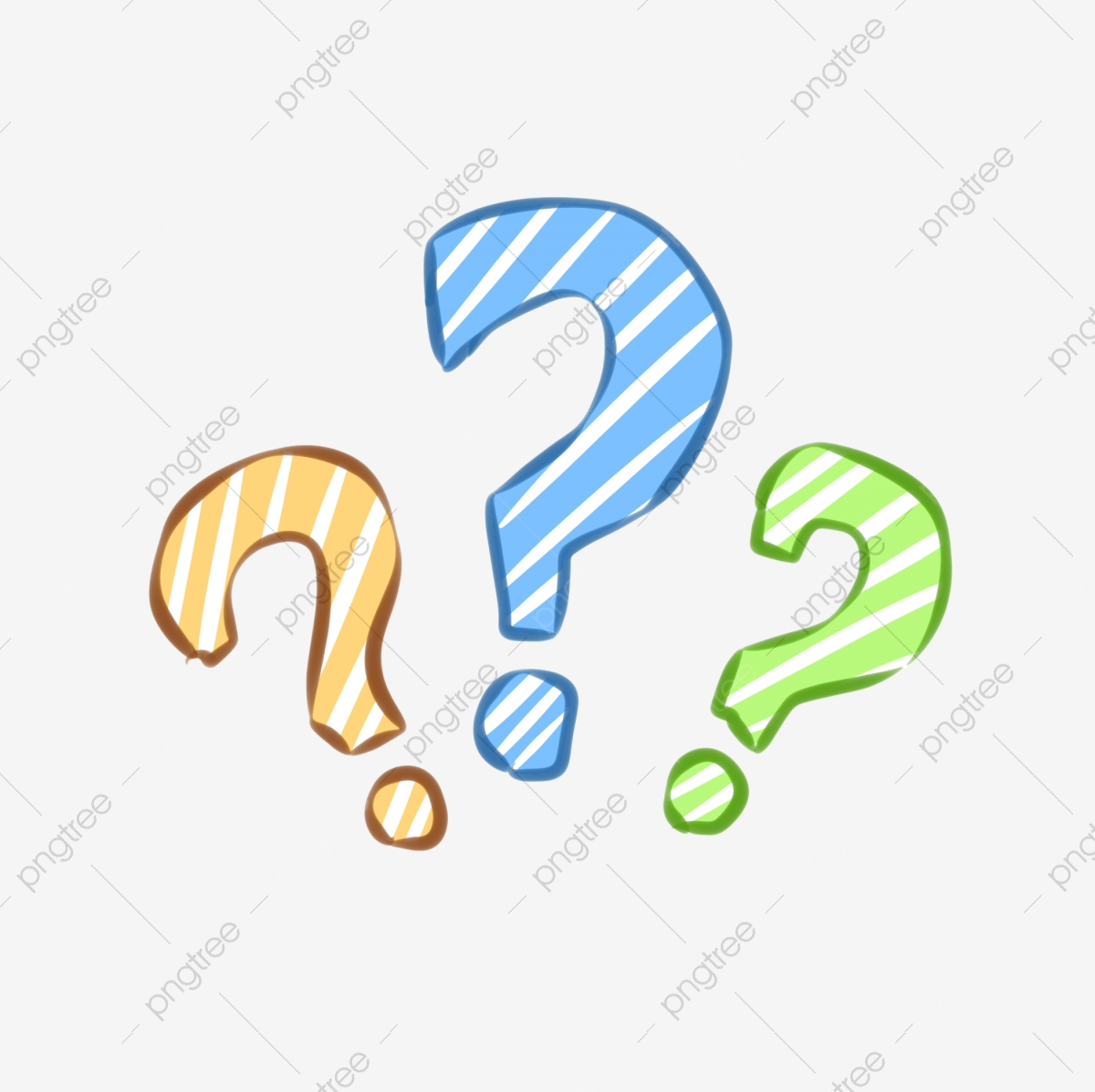 Tricolor Minimalist Style Question Mark Cute Cartoon Anime Png