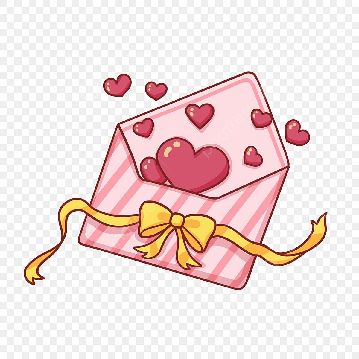Ilustrasi Kecil Hari Valentine Sampul Surat Cinta Tunduk