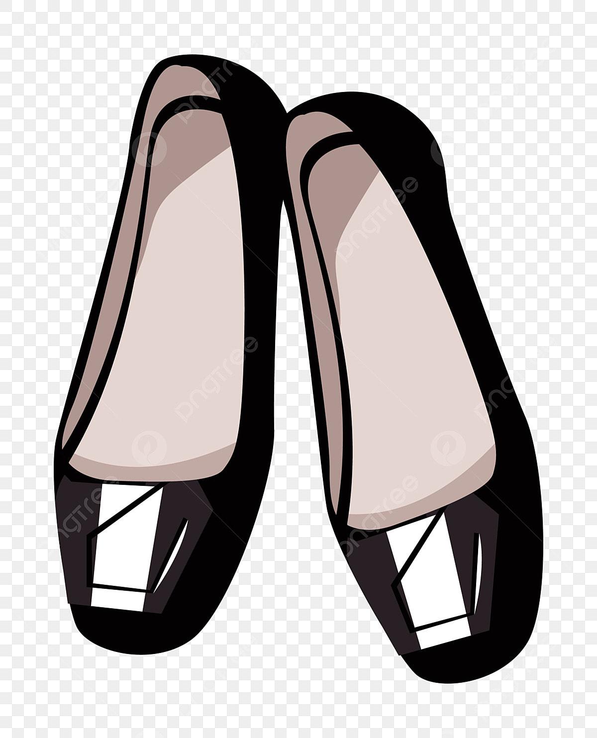 Black Ladies Flat Shoes Illustration