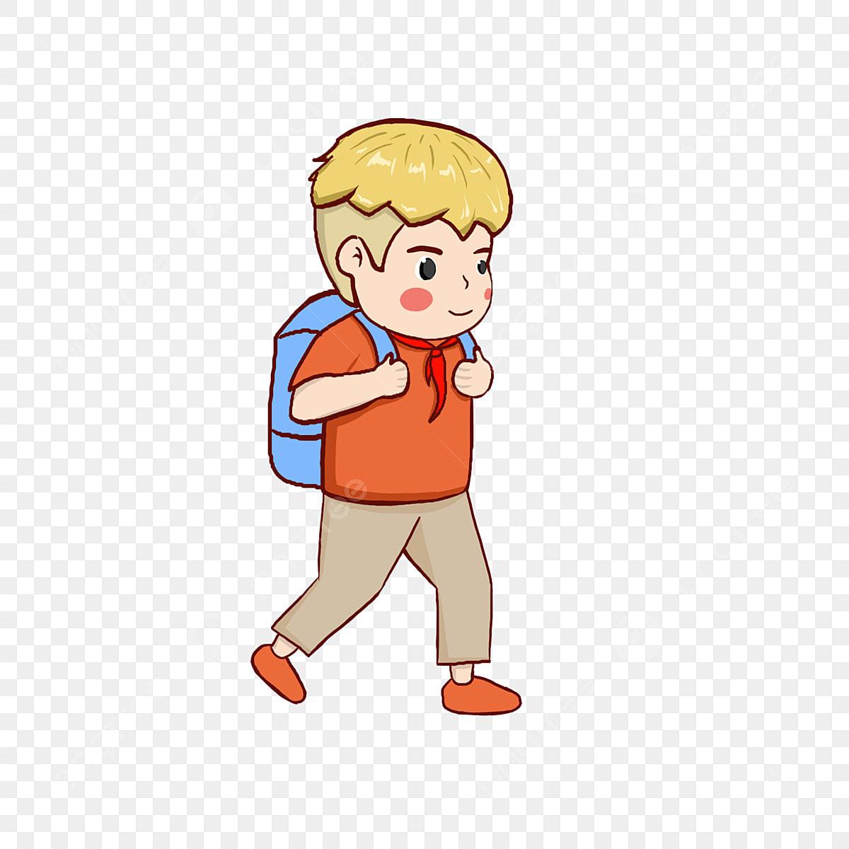 Ilustrasi Watak Musim Terbuka Budak Kecil Pergi Ke Sekolah