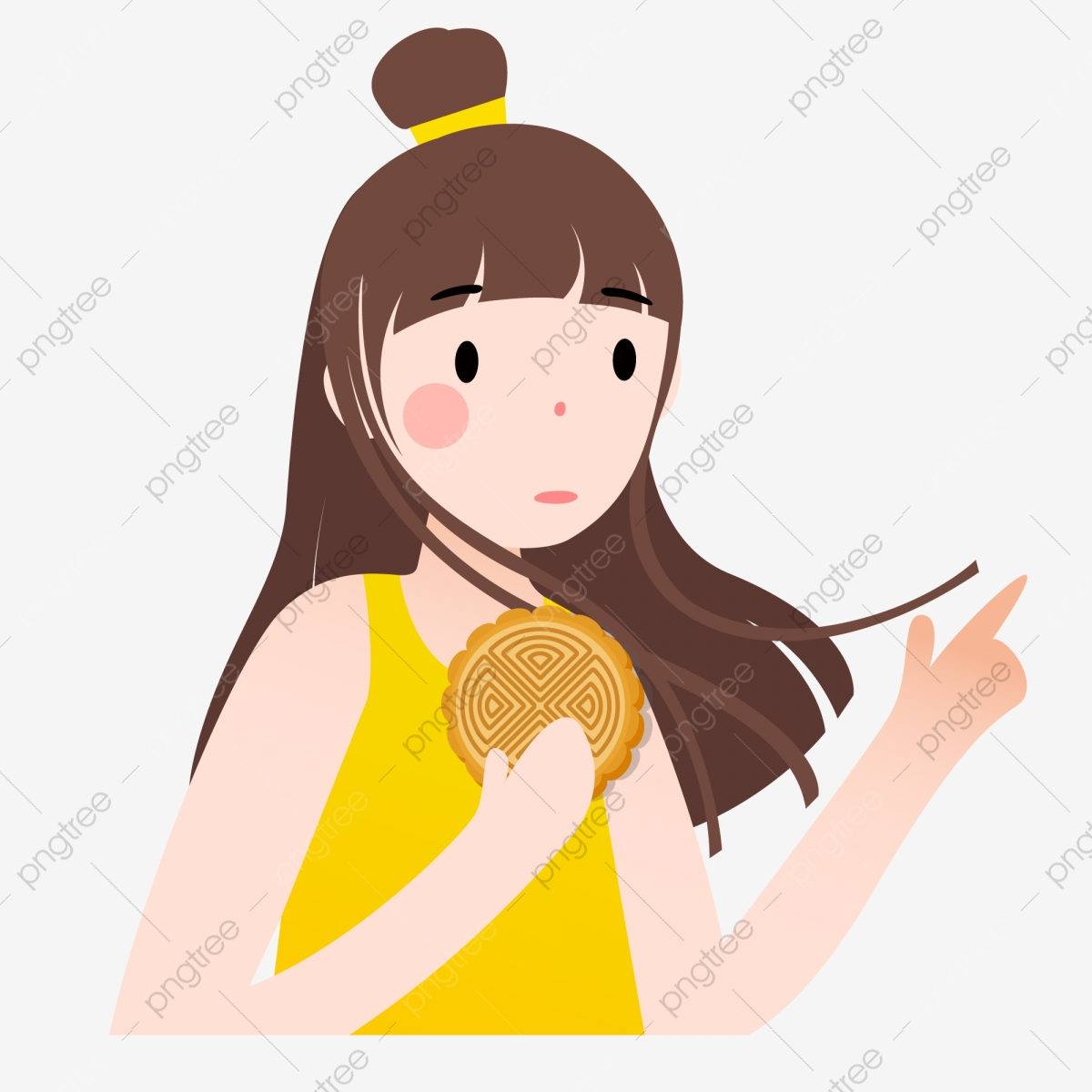 Cartoon Girl Eating Mooncakes Delicious Mooncakes Cartoon Characters Hand Drawn Characters Png And Vector With Transparent Background For Free Download